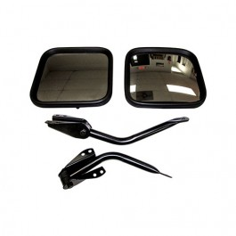 Black Side View Mirror Kit with Arm and Bracket, LH & RH  Fits  55-86 CJ All