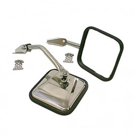 Stainless Side View Mirror Kit with Arm & Bracket, LH & RH  Fits  55-86 CJ All