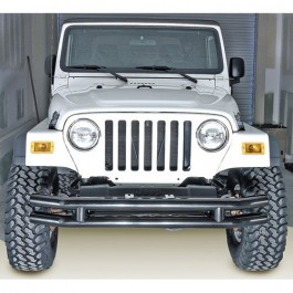 Front Tube Bumper without Riser in Black  Fits  76-86 CJ