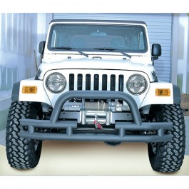 Front Tube Bumper with Winch Cutout in Text Black  Fits  76-86 CJ