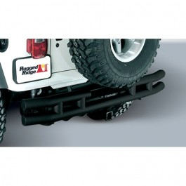 Rear Tube Bumper with Hitch in Black  Fits  55-86 CJ