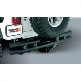 Rear Tube Bumper with Hitch in Textured Black  Fits  55-86 CJ