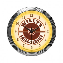 Neon Willys Sales/Service Wall Clock Fits Willys Accessory