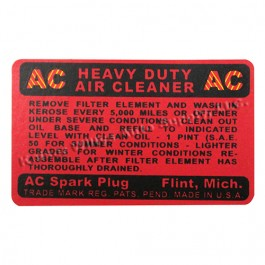 Oil Bath Air (Filter) Cleaner AC Decal Fits : 41-45 MB, GPW