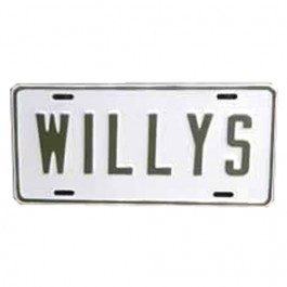 Willys License Plate in Block Script (Olive Drab) Fits  41-71 Willys and Jeep