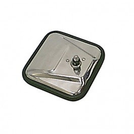 Passenger Side Square Mirror Head with Convex Glass in Stainless  Fits  76-86 CJ