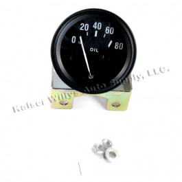 Instrument Panel Oil Gauge (6 or 12 volt)  Fits 46-66 CJ-2A, 3A, 3B, M38, M38A1