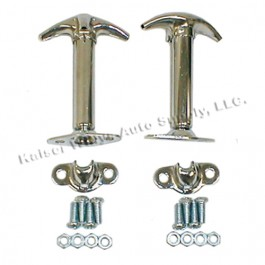 Chrome Hood Catch Kit for Both Sides  Fits  41-71 Jeep & Willys