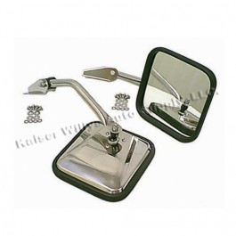 Chrome Side View Mirror Kit with Arm and Bracket, LH & RH  Fits  55-86 CJ All