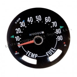 Compete Speedometer Cluster less Gauges 0-90 MPH  Fits  55-71 CJ-5