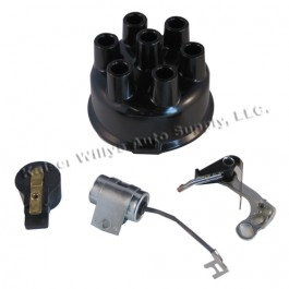 Distributor Rebuild Kit (points, rotor, cap, condenser)  Fits  50-55 Station Wagon, Jeepster with 6-161 engine