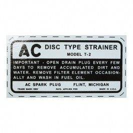Fuel Strainer Bowl AC Decal Fits : 41-45 MB, GPW