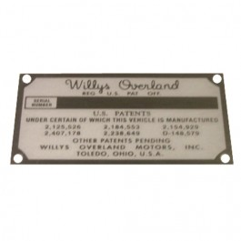 Patent Registration Data Plate Fits  41-71 Jeep & Willys
