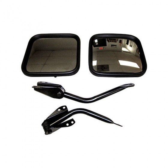 Black Side View Mirror Kit with Arm and Bracket, LH & RH, 55-86 Willys & Jeep