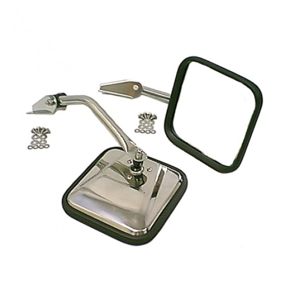 Stainless Side View Mirror Kit with Arm & Bracket, LH & RH, 55-86 CJ & Willys