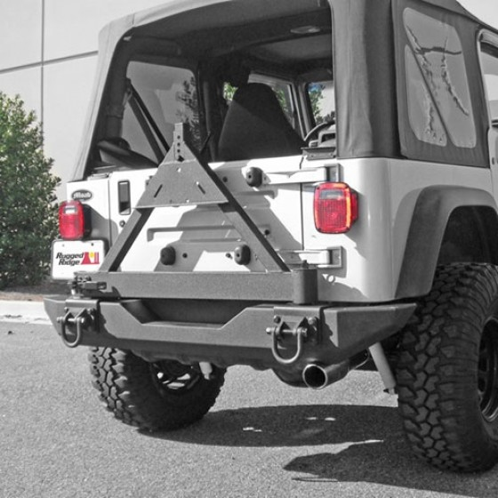 Rugged Rige Tire Carrier Add On For XHD Rear Bumper, 76-86 CJ