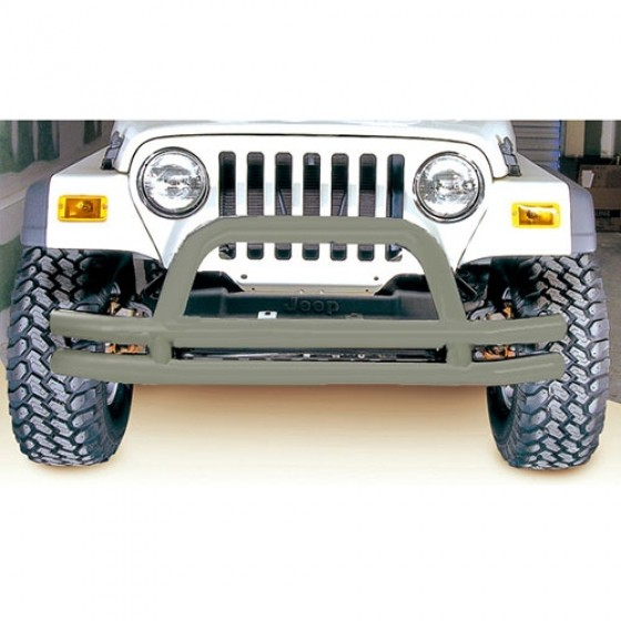 Front Tube Bumper with Riser in Titanium, 76-86 CJ