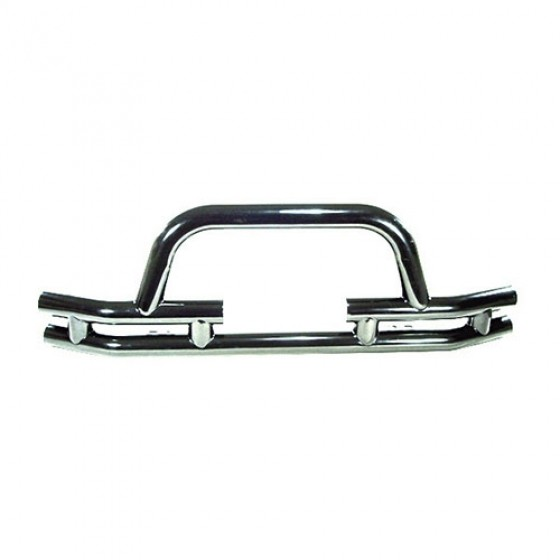 Front Tube Bumper with Winch Cutout in Stainless, 76-86 CJ