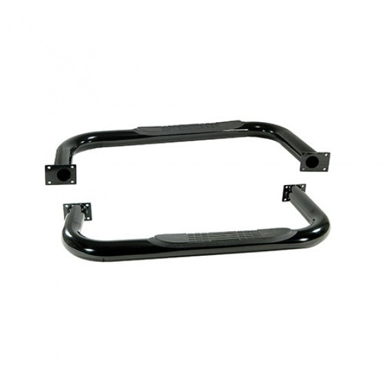 3 Inch Round Side Tube Steps in Black, 76-86 CJ-7