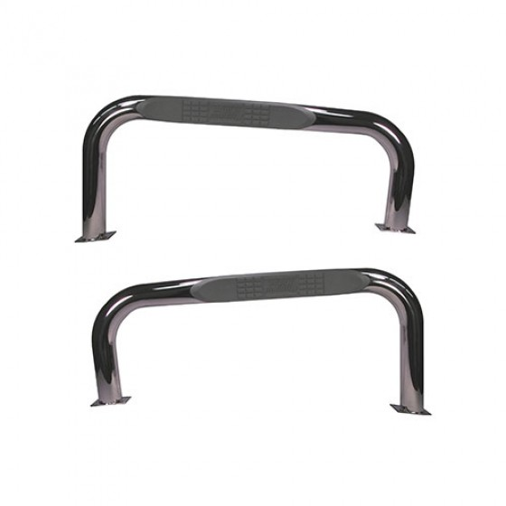 3 Inch Round Side Tube Steps in Stainless, 76-86 CJ-7