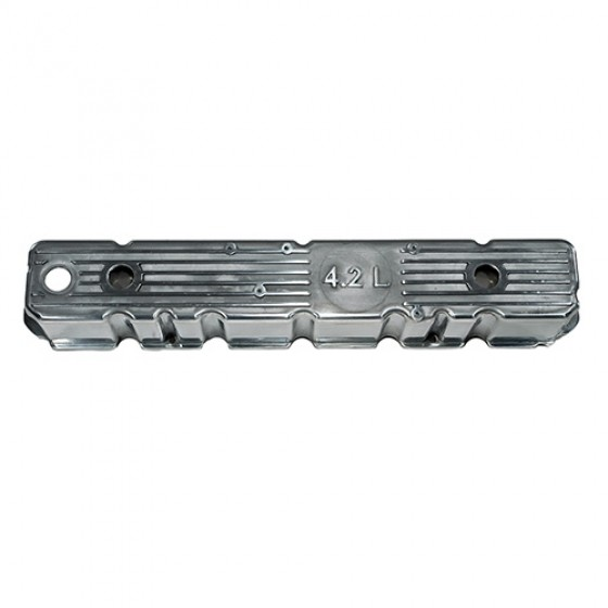 Aluminum Polished Valve Cover with 4.2L Logo, 81-86 CJ with 6 Cylinder