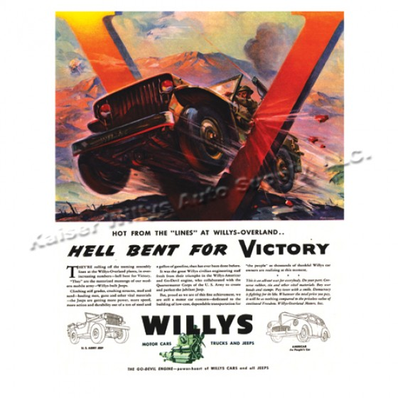 Vintage Willys Ad Hell Bent on Victory
