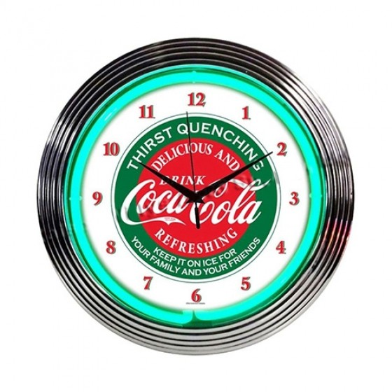 """Neon """"Coca-Cola"""" Evergreen Clock Fits Willys Accessory"""