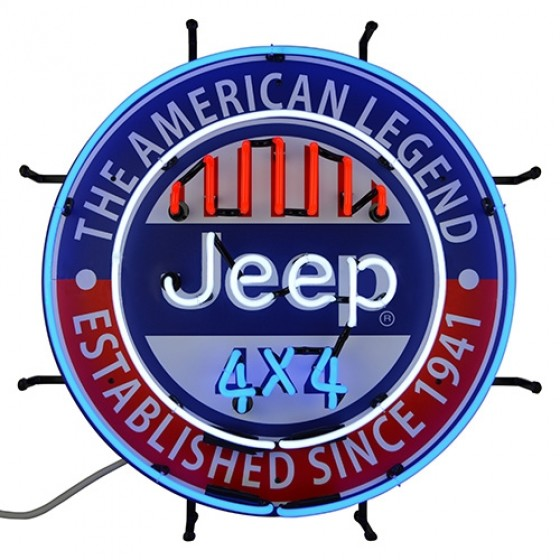"Jeep ""The All American Legend"" Neon Wall Sign, Willys Accessory"