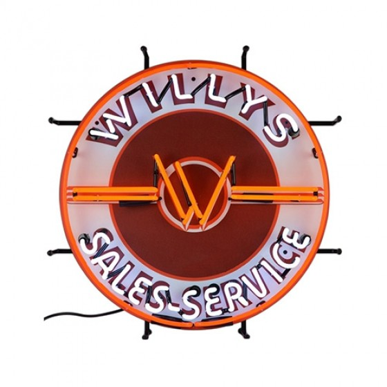 Neon Willys Sales-Service Wall Sign