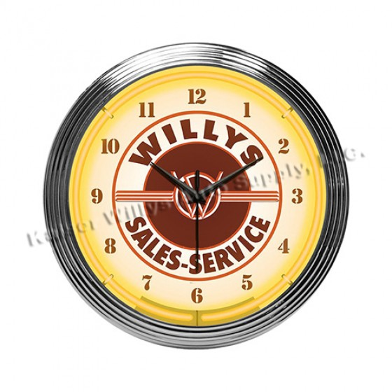 Neon Willys Sales/Service Wall Clock