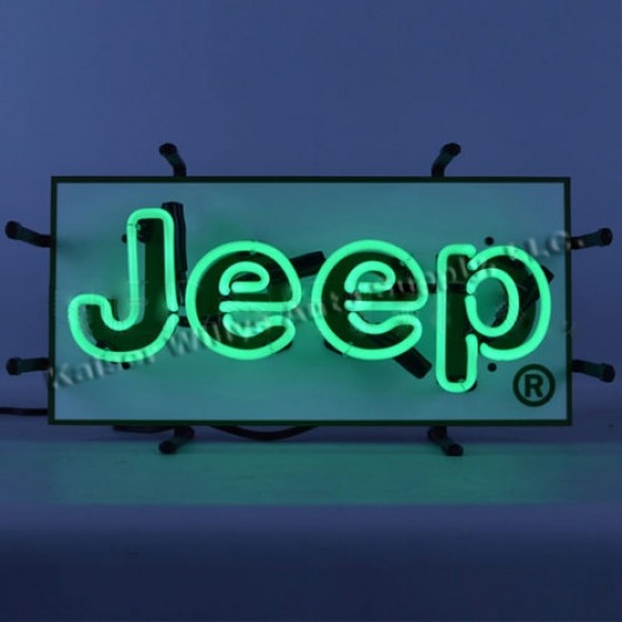 "Jeep"" Green Junior Neon Wall Sign, Jeep Willys Accessory"