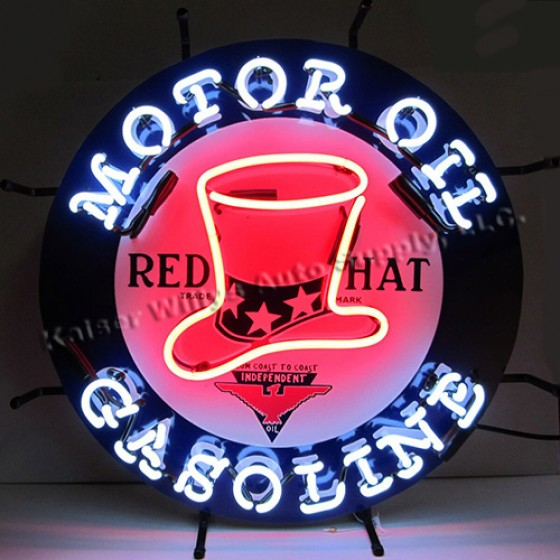 """Neon """"Red Hat Gasoline"""" Wall Sign Fits Willys Accessory"""