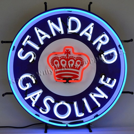 """Neon """"Standard Gasoline"""" Wall Sign Fits Willys Accessory"""