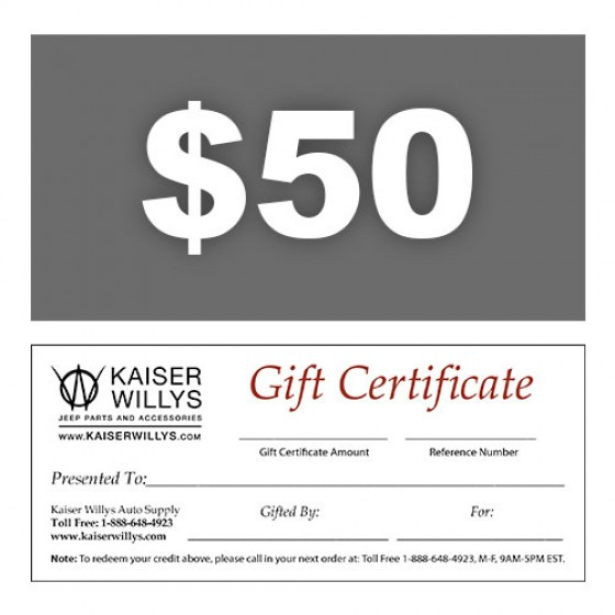 50 gift certificate to kaiser willys negle Images