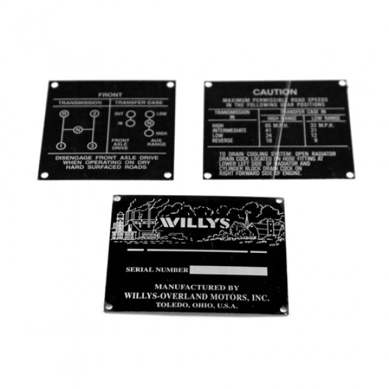 Early Data Plate Set, 3 Piece, 46 CJ-2A