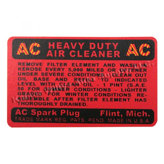 Oil Bath Air Cleaner AC Decal, 41-45 Willys & Jeep MB, GPW