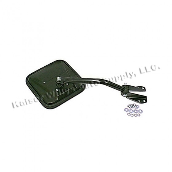 Driver Side Mirror and Arm in Black, 76-86 CJ
