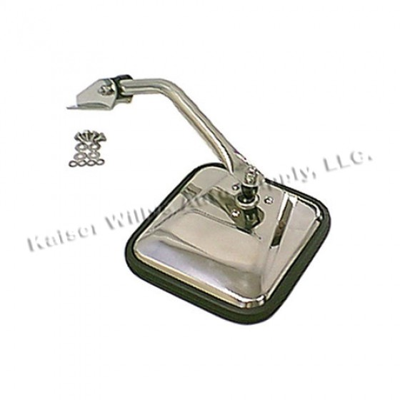 Driver Side Mirror and Arm in Chrome, 76-86 CJ