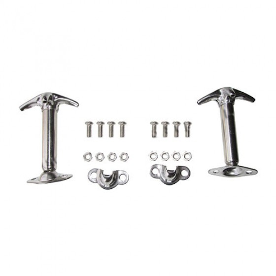 Stainless Steel Hood Catch Kit for Both Sides, 41-71 Jeep & Willys