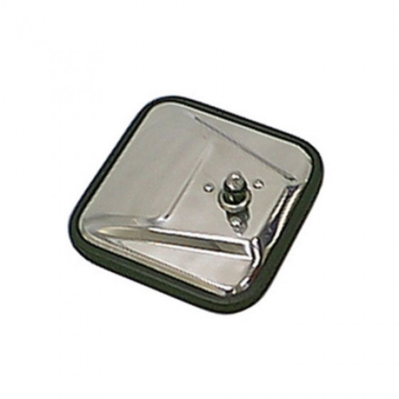 Square Mirror Head in Stainless, 76-86 CJ