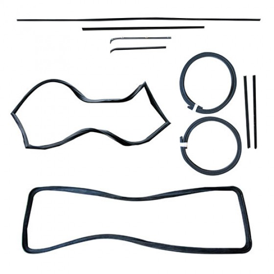 Front & Rear Window Glass Weatherseal Kit, 61-64 Station Wagon