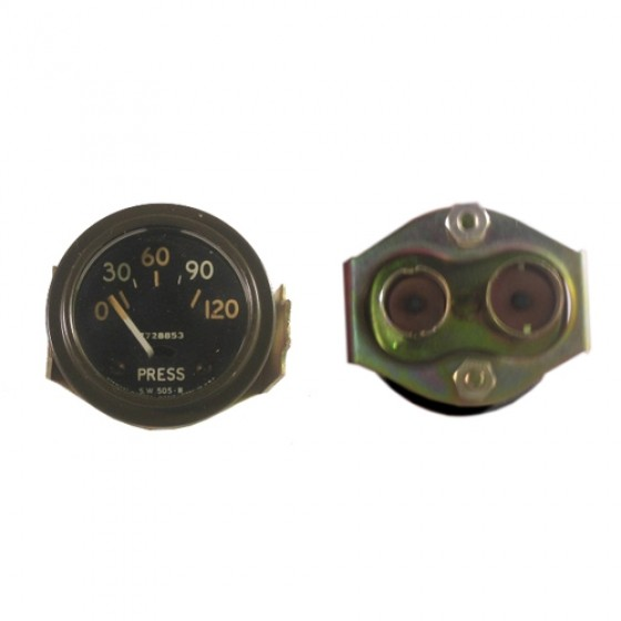 NOS Instrument Panel Oil Gauge (24 volt) Fits 50-66 M38, M38A1 (packard, rubber connections)
