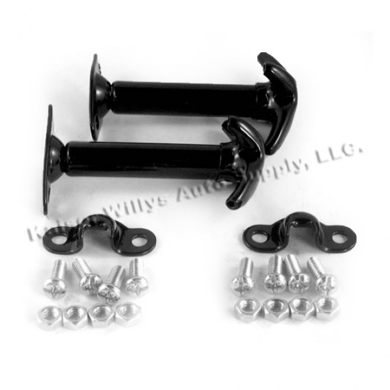 Black Hood Catch Kit for Both Sides, 46-71 Jeep & Willys