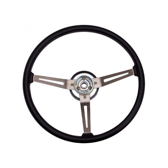 Metal 3-Spoke Design Sport Steering Wheel in Black, 76-86 CJ