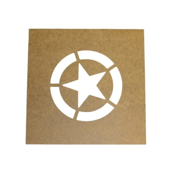 "Paint Stencil w/4"" Diameter Star ""Broken"" Invasion Circle Fits 41-71 Jeep & Willys"