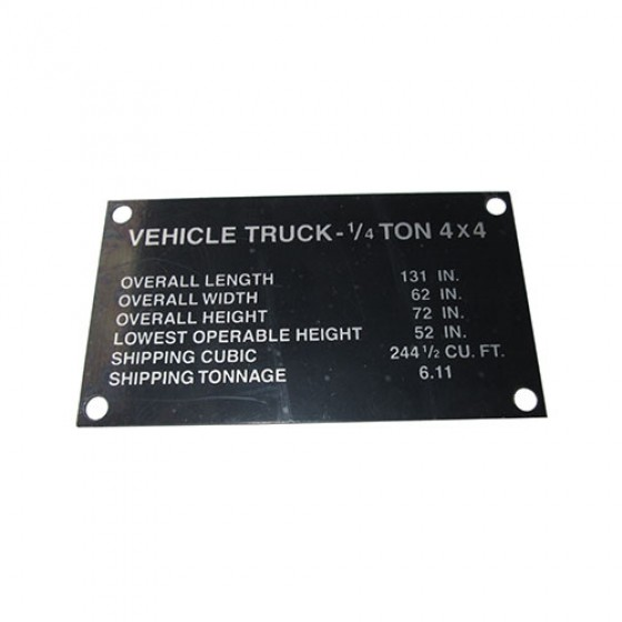Dashboard Shipping Dimensions Data Plate, 44-45 MB