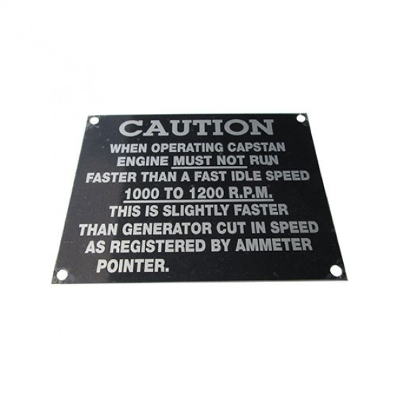 Caution Data Plate, Aluminum, 41-45 MB, GPW