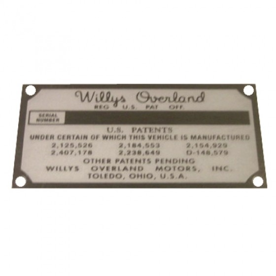 Patent Registration Data Plate, 52-66 M38A1