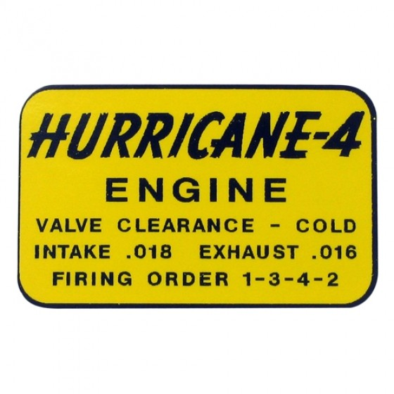 "Decal Set for Top of Engine Rocker Arm Cover ""Hurricane 4"" Fits 50-72 Willys Jeeps"