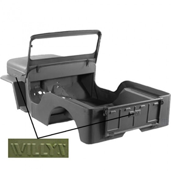 "Body Tub Kit (Steel Tub, Fenders, Hood, & Windshield Frame) Fits 53-64 CJ-3B (Stamped ""Willys"")"